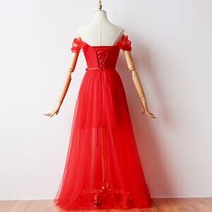Image 2 - Cor vermelha Revestimento Interno Curto Vestidos de Dama de honra Vestidos De Mulher para a Festa de Casamento e Vestido Maxi