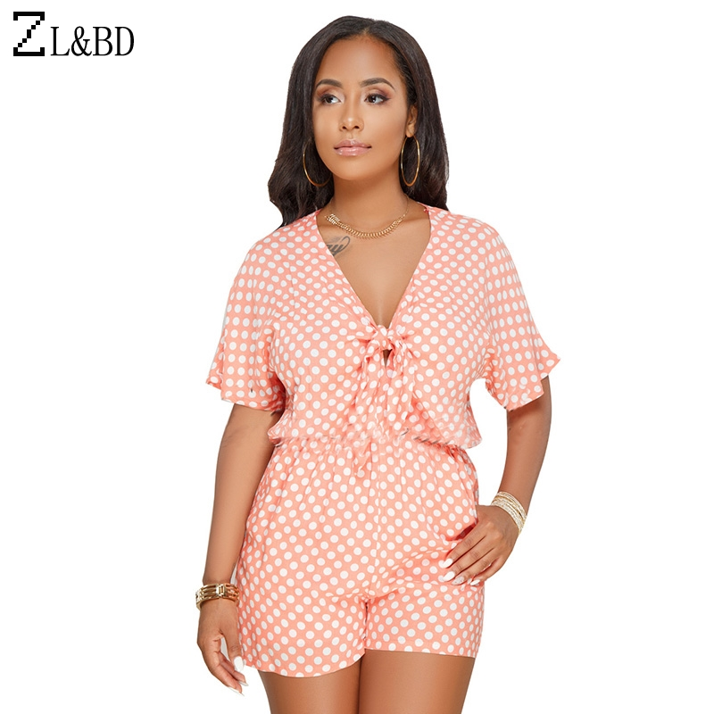 ZL&BD Plus Size 3XL Womens Jumpsuit and Rompers Casual Short Sleeve V-Neck Front Tie Up Polka Dot Summer Beach Playsuit ZA538