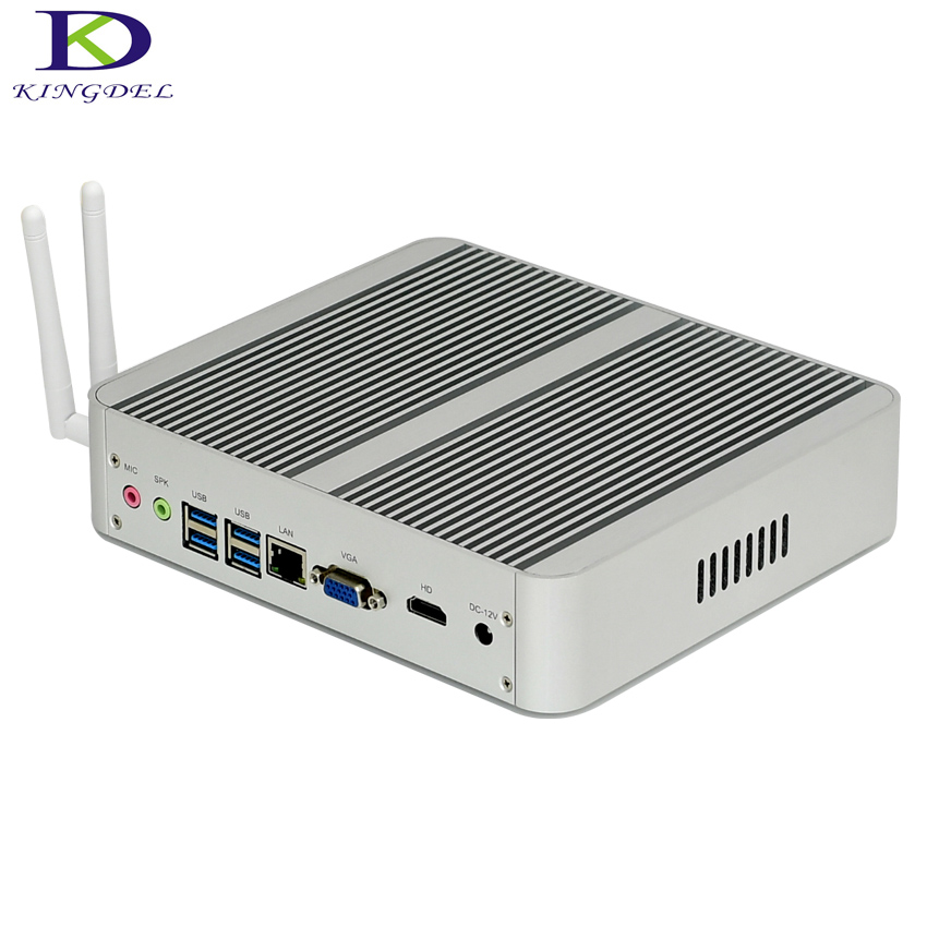 Kingdel New Arrival Intel I3 7100U Fanless Mini PC Windows 10 Linux Desktop Computer 4K HTPC HDMI VGA Max 16G RAM No Noise