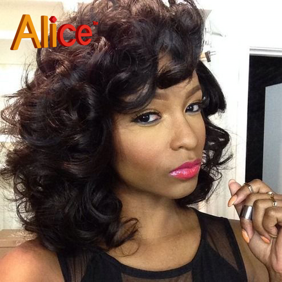 deep wave short full lace human hair wig for black women curly
