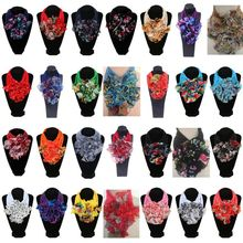 Womens Floral Collar Scarf Luxury Flower Printed Neckerchief Ring Neck