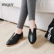 BYQDY Spring Autumn Women Pumps Low Heels Female Casual Shoes Chunky Heel Solid Ankle Russian Comfortable Plus Size 34-48