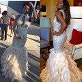 Robe De Soirée Sexy Lentejuelas Plumas Vestidos de Noche Perlas Bling Del Desfile de Red Carpet Celebrity Largo Vestido de Fiesta Formal