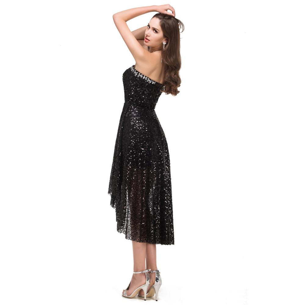 Grace Karin High Low Black Prom Dresses 2017 Short Front Long Back Evening Dress Vestidos de Festa Sequins Prom Dresses 8915 7