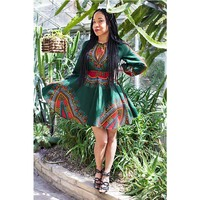Women Summer Dress Casual 2018 Ladies Sexy African Dresses Dashiki Traditional Print Long Sleeve Mini Dress Plus Size L 3XL