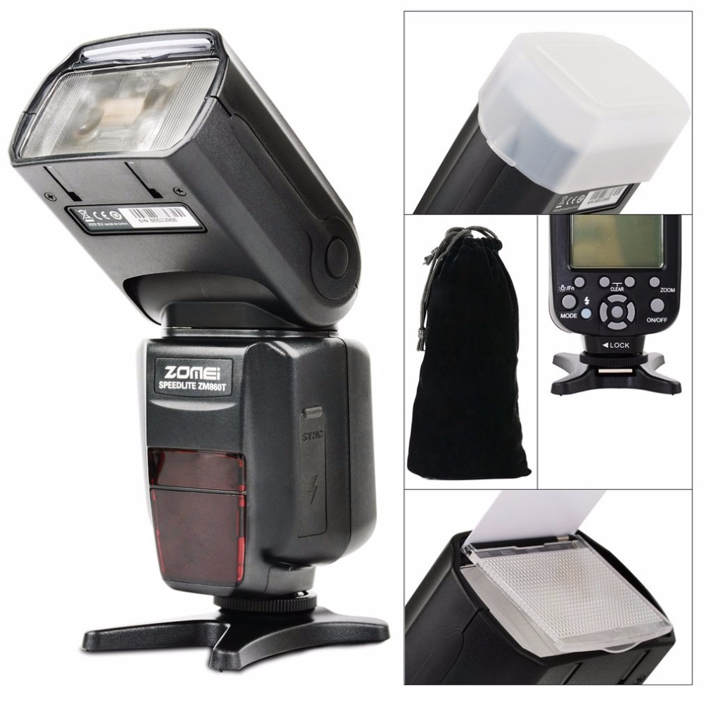 Zomei ZM-860T Professional Speedlight LCD Display TTL Speedlite High Speed Sync Flash For Canon For Nikon DSLR Cameras zomei zm860t lcd display high speed ttl speedlite speedlight flash for canon 5d2 5d3 7d 700d nikon d7500 d7300 d5300 dslr camera
