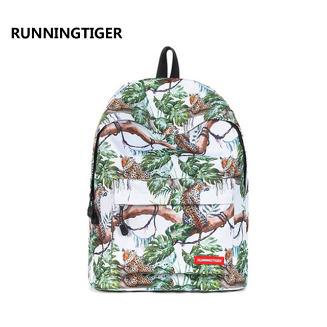 RUNNINGTIGER backpack women fashion polyester animals printing bag bags fro  women leopard backpacks preppy style bags A6879/j
