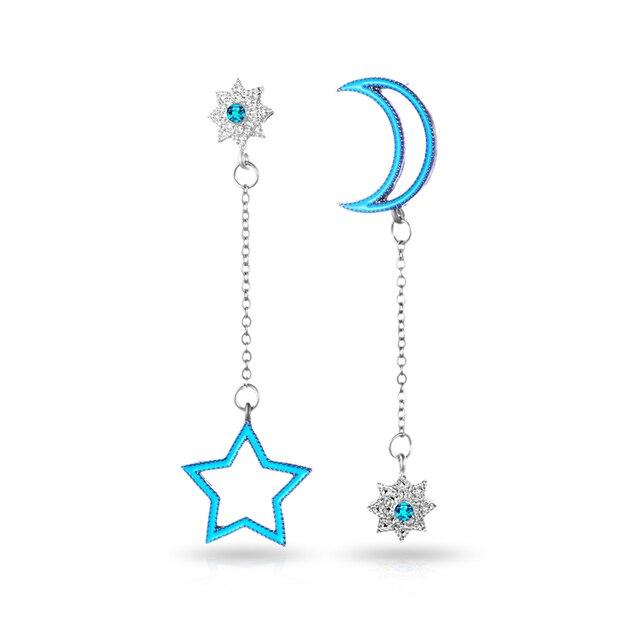 H02 Blue stars earrings Long Tassel Dangle Earrings For Women Leaf Feather Drop