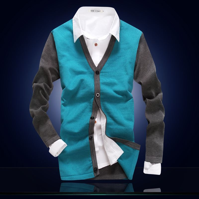 Autumn Thin Cardigan Male Hit Color V-collar Knitwear Male Outside Wearing Spring And Autumn Sweater Korean Version Slimming