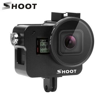 ยิง CNC อลูมิเนียมอัลลอยด์ป้องกันกรณี Cage สำหรับ GoPro Hero 7 6 5 สีดำกับ 52mm UV