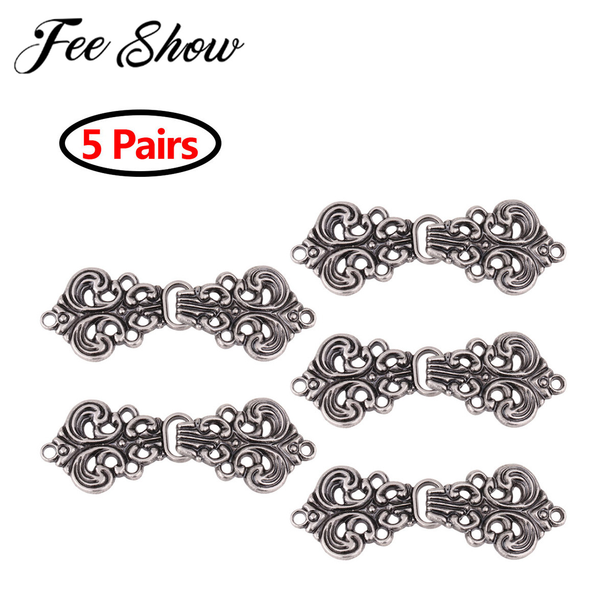 5 Pairs Vintage Accessories Cardigan Clip Clasp Fasteners Swirl Flower Cloak Clasp Fasteners Sew On Hooks Collar Metal Brooches Детская кроватка