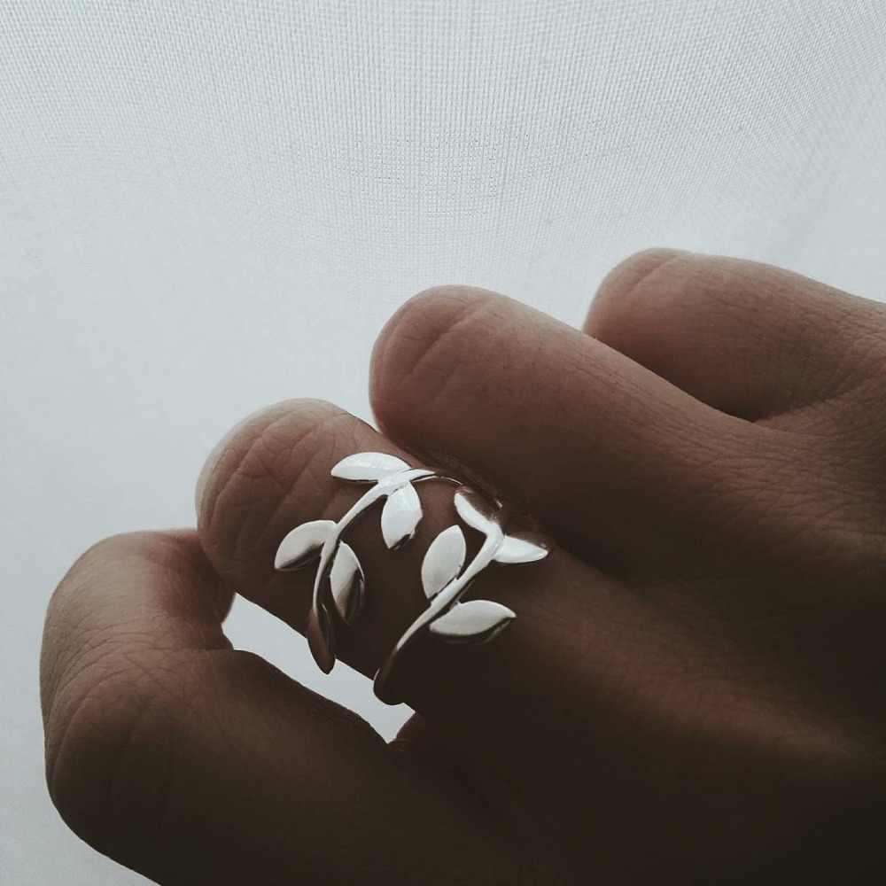 ラブリーガール亜鉛合金自然オリーブ木の枝の葉葉オープンリング調節可能なサイズ女性パーティー指ジュエリー