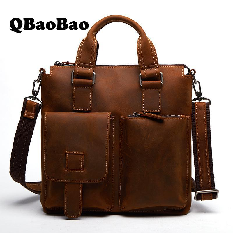 Genuine Leather Male Bag New Crazy Horse Retro Business Men Bag Travel Fashon Shoulder Men Messenger Bag joyir men briefcase real leather handbag crazy horse genuine leather male business retro messenger shoulder bag for men mandbag