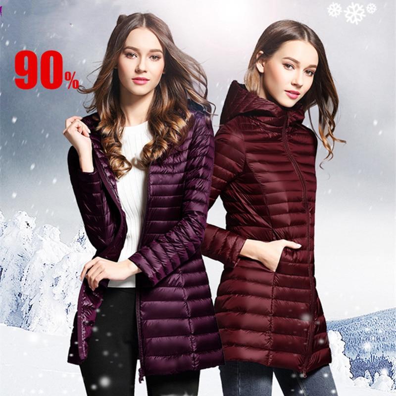 90% White Duck   Down     Coat   Women Ultra Light   Down   Jackets 2019 winter New Women Long   Down     Coat   Parka with Hood