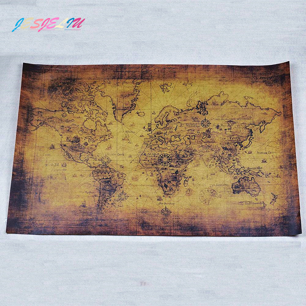 Nautical Ocean Sea World Map Retro Old Art Paper Painting Home Decor Sticker Living Room Cafe Antique Poster Map 71*51 Cm