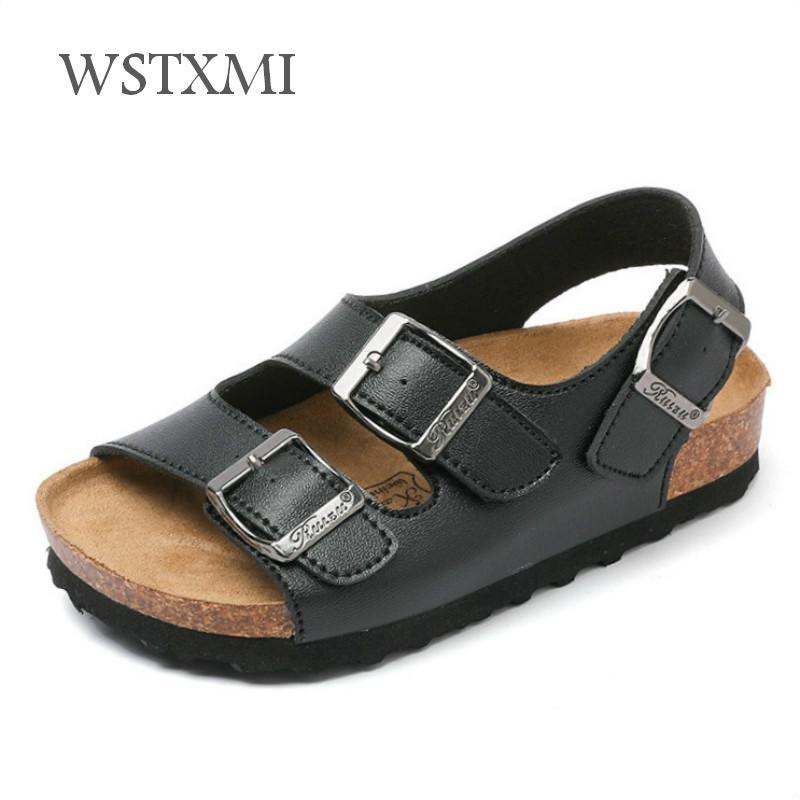2019 New Summer Kids Beach Sandals For Boys Cork Sandals Non-slip Soft Leather Girls Sport Sandal Children Shoes Outdoor Fashion