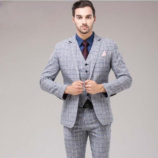 Fashion Male Formal Dress Light Grey Plaid Set Mens Clothingformal
