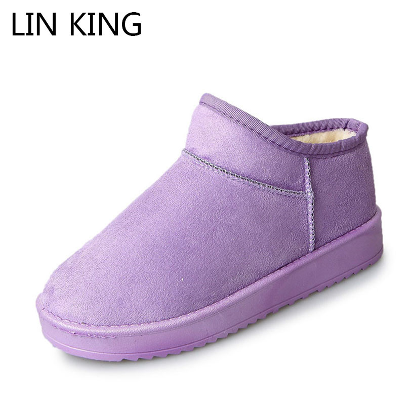 LIN KING New Women Winter Short Boots Round Toe Ladies Snow Boots Non Slip Flats Ankle Botas Shallow Female Warm Cotton Shoes