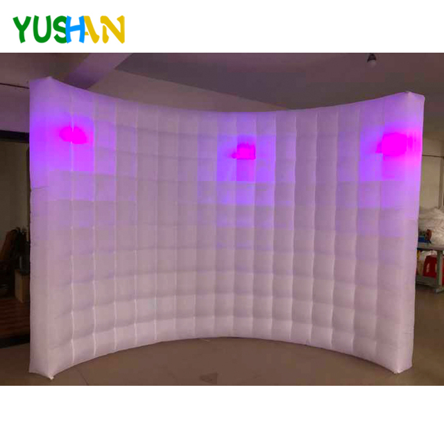 10/8ft LED Inflatable Photo booth Wall Backdrop 3pcs LED Bulbs lights  Portable LED wall Photo booth stand For Christmas party