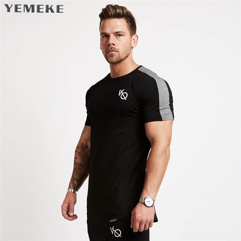 YEMEKE New men Short sleeved t shirt cotton raglan sleeve gyms Fitness workout clothing male Casual fashion Brand tees tops