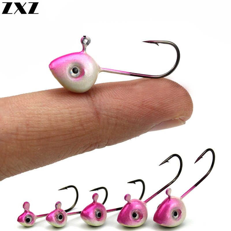10pcs 3D Eye Jig Lead Head Fishing Hooks Barbed Hook Crankbaits 1g/2g/3g/4g/5g Fishing Lure Mini Fish for Soft Bait Worm Tackle
