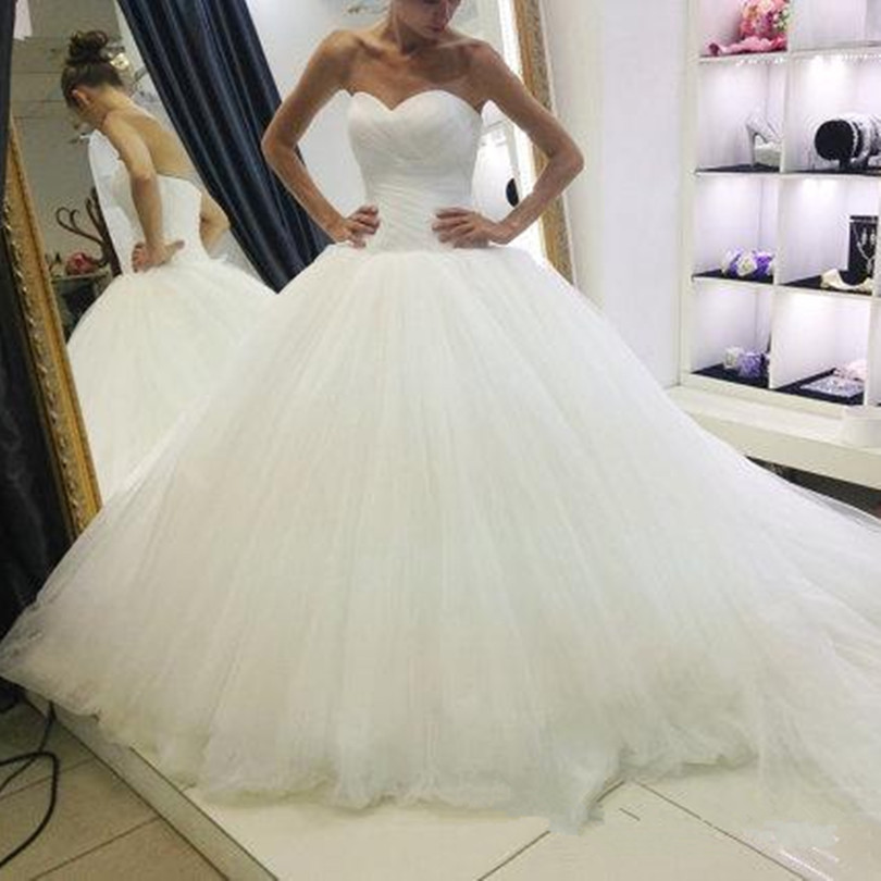 2017 New Design Pleated Tulle Ball Gown font b Wedding b font font b Dress b