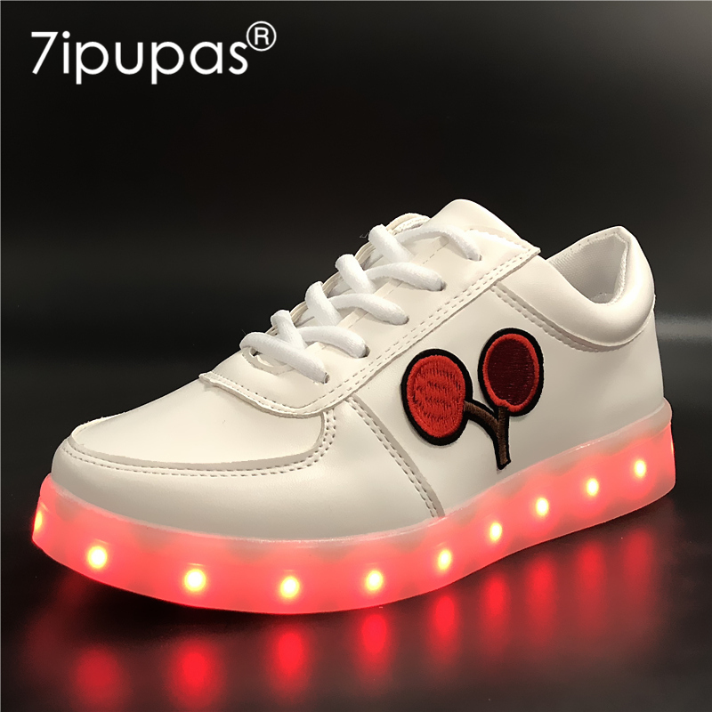 7ipupas EUR 30-44 Cherry Glowing Sneakers zapatillas Boy Girl Children Shoes USB Charge Led Shoe Kids Light Led luminous sneaker