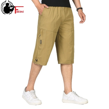 Summer Men's Baggy Multi Pocket Military Zipper Cargo Short Hot Breeches Long Army Green Khaki Bermuda Male Capris Plus Big Size 1
