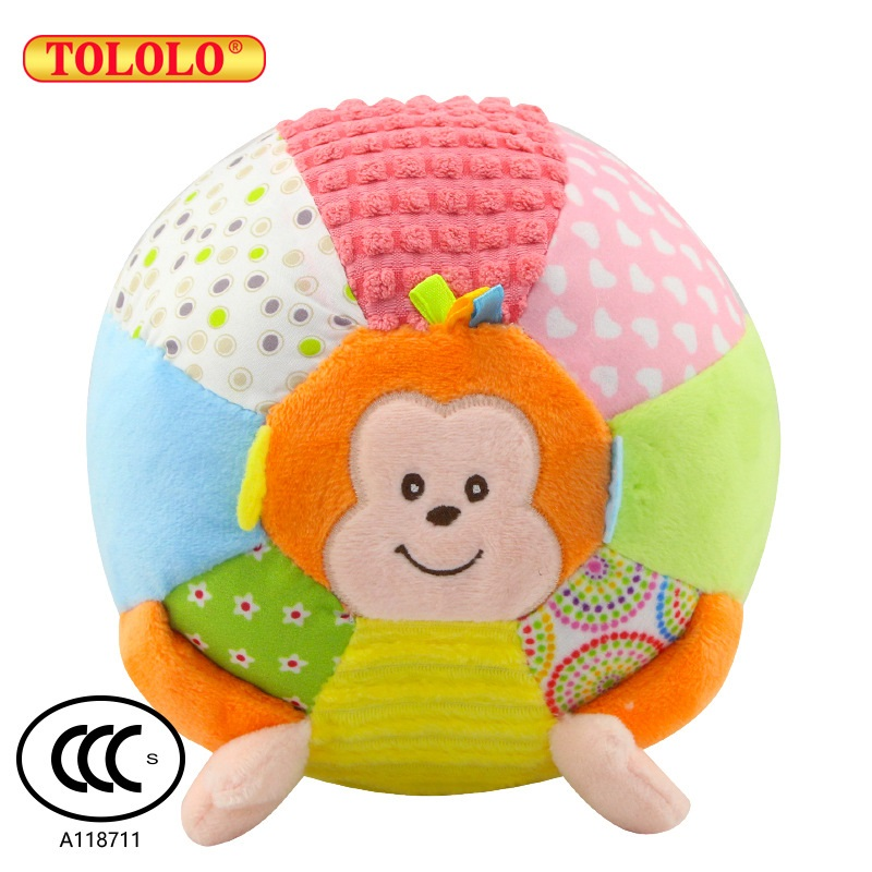 Animal Monkey Baby Toys 0-3 Years Old Puzzle Rattle Toy Hand Catch Ball with 12 Sounds Baby Toy Balls