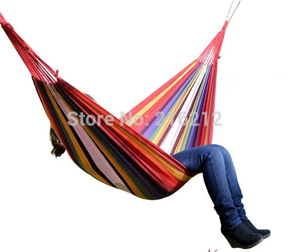 Fashion Hot One Person Family Camping Camp One Person Canvas Outdoor Leisure Fabric Stripes Hammock in one person