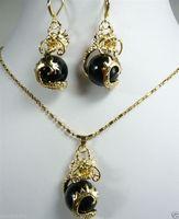 Schöne Schwarze edelstein Drachen Anhänger Halskette Ohrring set AAA uhr Quarz stein kristall silber-schmuck brinco hochzeit