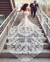 New Design Dubai Lace Mermaid Wedding Dress 2019 Sexy V Neck Backless Vestido De Noiva Luxury Cathedral Train Bridal Gowns
