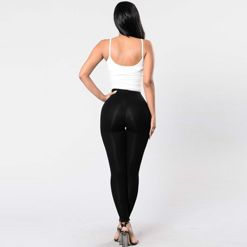 Black Hollow Out Leggings Women 2019 Autumn Winter Full Length Pencil Pants Sexy Fitness Lace Up Bodycon Legging 4
