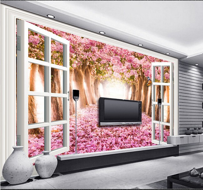 The custom 3D murals,outside the window of cherry road living TV ...