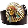 Мужская мода пояс запад ковбой ремень для мужчин панк-рок ремни преувеличены стиль индеец глава мужская кожаный ремень хип-хоп пояса