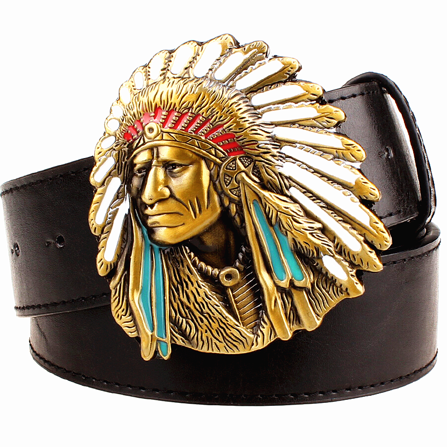 Mode mannen riem west cowboy riem voor mannen punk rock riemen overdreven stijl indian chief hoofd heren lederen riem hiphop gordel