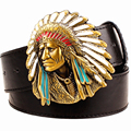 Fashion men belt west cowboy belt for men punk rock belts exaggerated style indian chief head Men's leather belt hip hop girdle