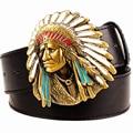 Homens da moda cinto de cowboy oeste cinto para cintos de homens do punk rock exagerada estilo indian chief cabeça cinto de cinto de couro dos homens hip hop