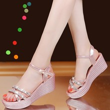 Summer Women Wedges Sandals Ladies Crystal Beach Sandals Peep Toe Casual Shoes Outside Pink Shoes High Heel