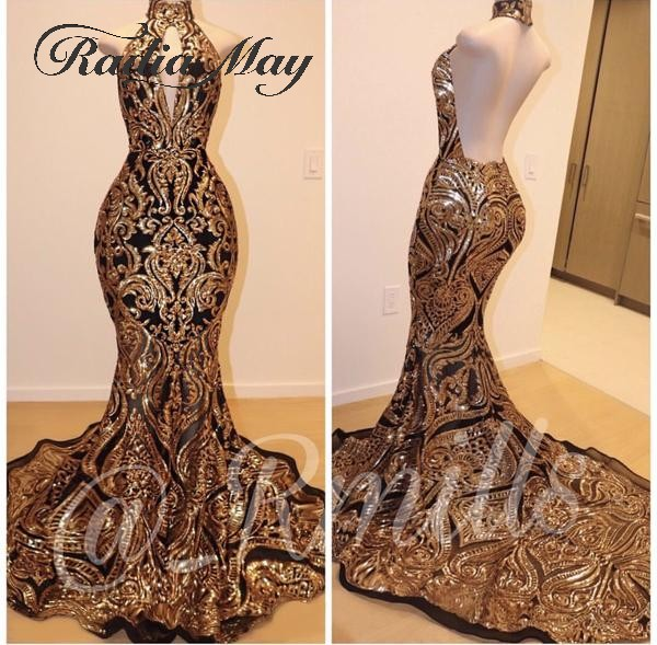 Sparkly Mermaid Backless Gold And Black Prom Dresses Black Girl Sexy Backless Long Train Plus Size African Graduation Gala Dress