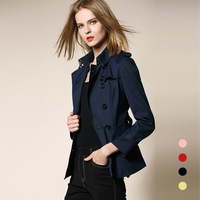 BURDULLY 2019 Spring Autumn New High Fashion Brand Woman Classic Double Breasted Short Trench Coat Waterproof Outerwear Belt