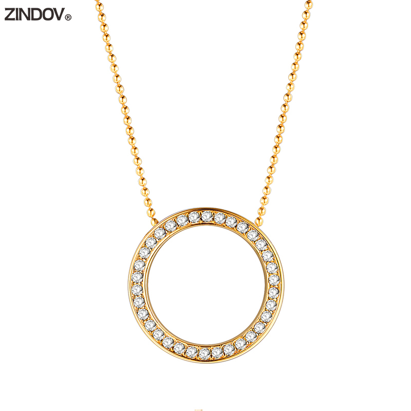 ZINDOV Fashion Jewelry Pendant Necklace Women Stainless Steel Gold-Color Rose Gold Silver Circle Rhinestone Lady Necklaces Gift vintage rhinestone circle necklace for women