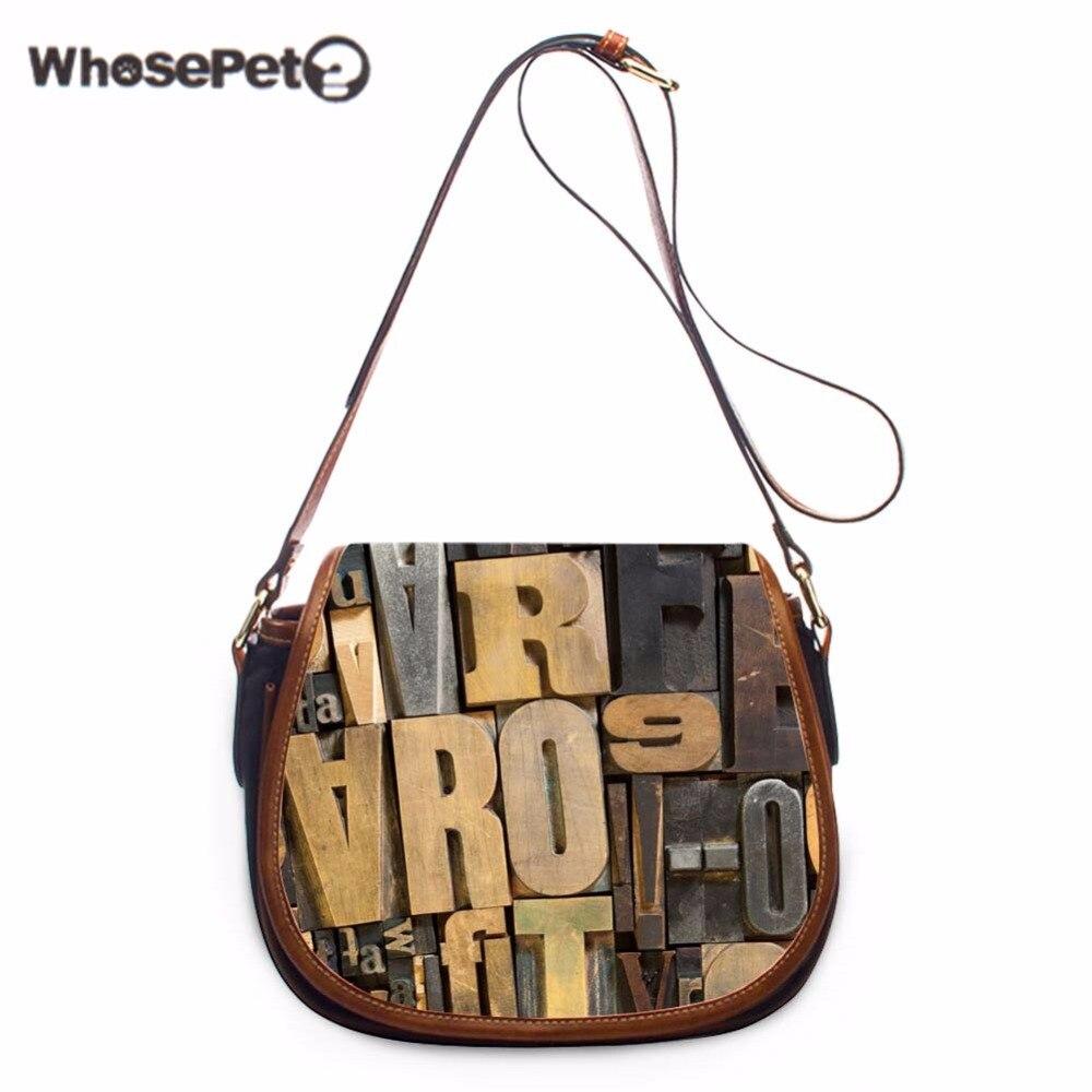 WHOSEPET Alphabet Satchels Cross Body Shoulder Bag Leisure Cover Sling Bags Letter Printing Pu Women Totes Bag Messenger Bag New