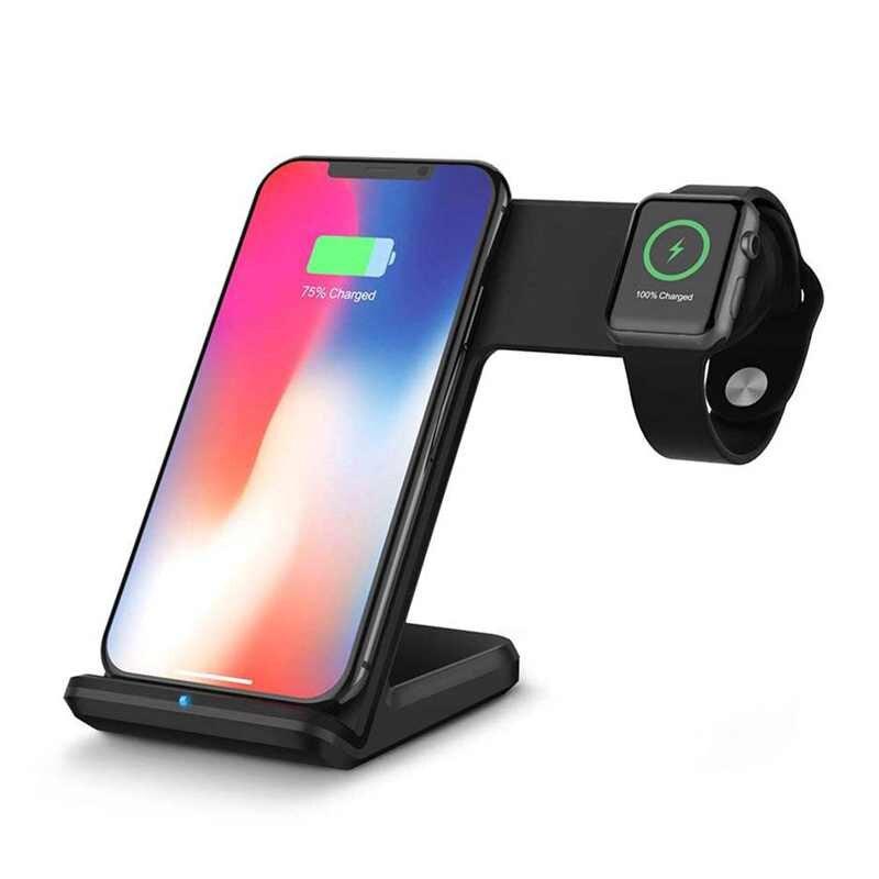 Chargeur sans fil 2 en 1 pour iPhone X 8 Plus Dock de chargement de batterie support pour samsung Galaxy Note 8/S9/S8 pour Apple Watch