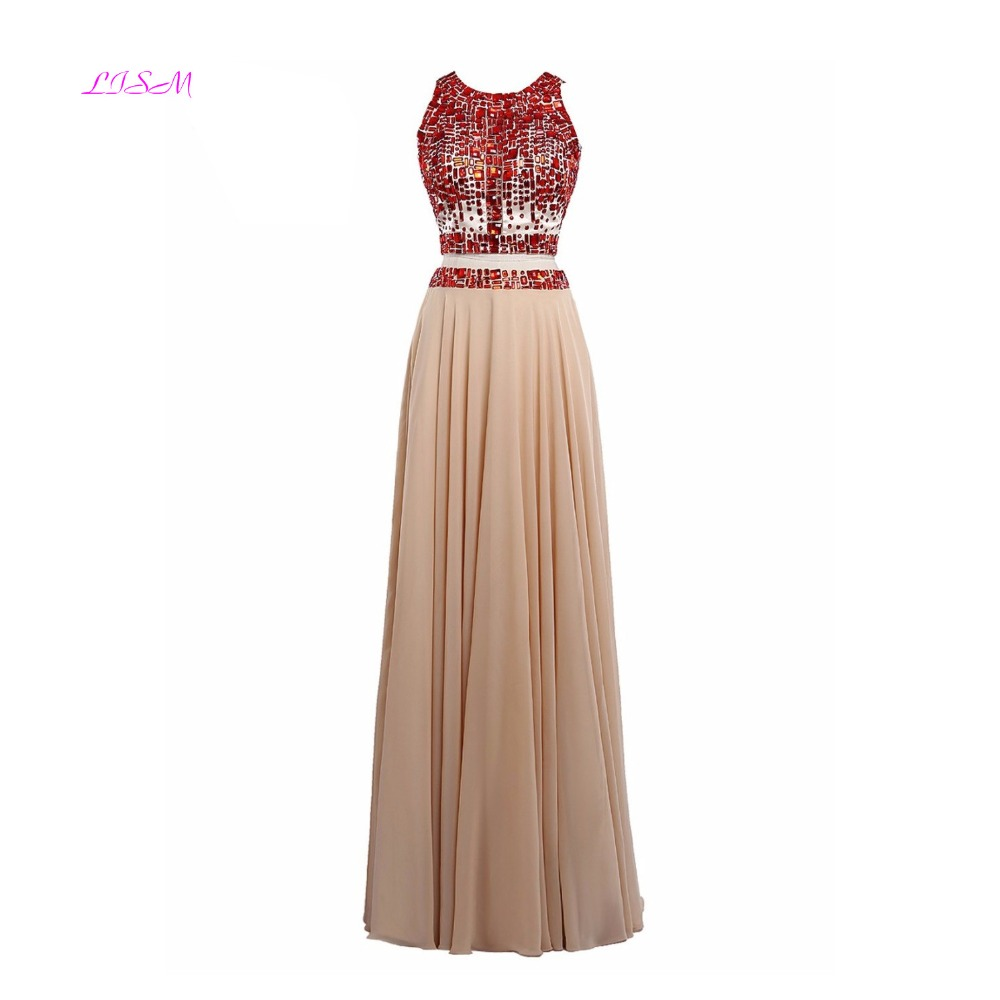Womens Chiffon Long   Prom     Dress   Crystals Two Pieces Evening   Dresses   A-Line Floor Length Formal Party Gowns Robe De Soiree 2019
