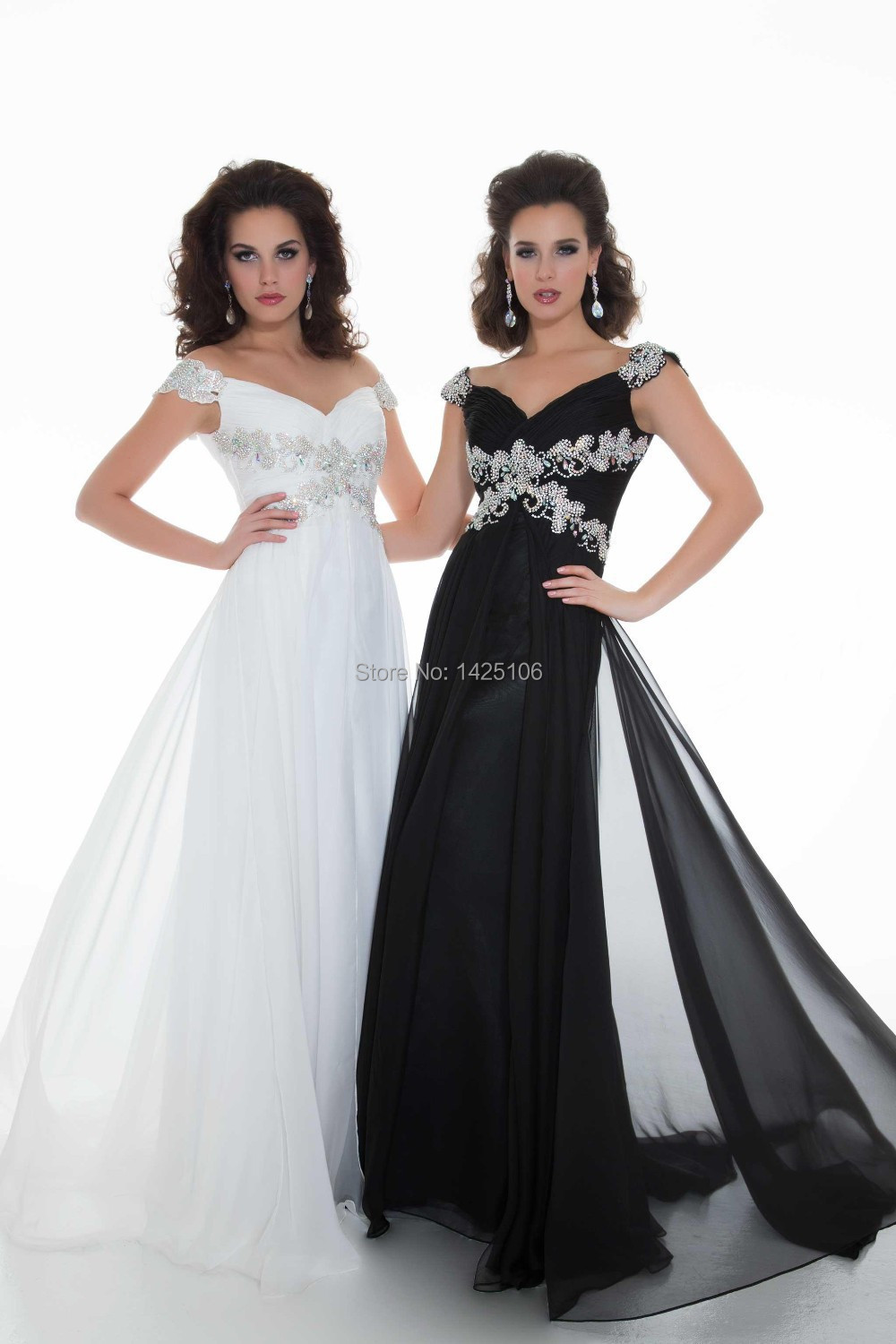 Black Prom Dress with Cap Sleeves