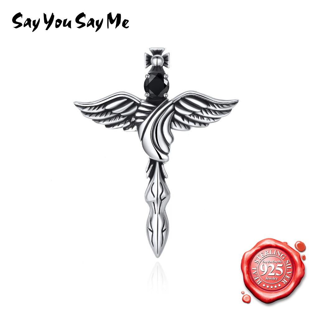 SAY YOU SAY ME Angel Wings Feather Demon Pendant Necklace Vintage for Women 925 Sterling Silver Zircon Pendant Necklace vintage bird wings necklace for women