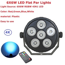 4Pcs Mini Size Plastic Par Lights 6X6W RGBW 4IN1 LED Flat With Remote Control Professional Stage Lighting Equipments