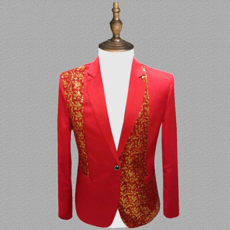 Suit Men New 2018 Long-Sleeved Mens Suits Dress Hosted Tuxedos For Men Wedding Prom Red Yellow Blue Black Chorus Performance