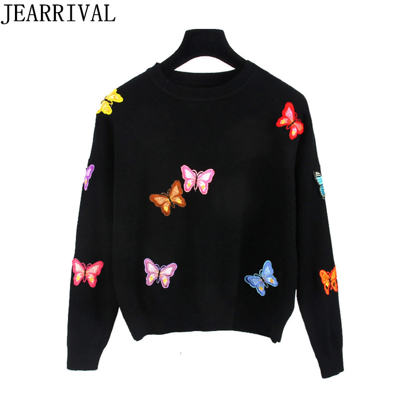 2017 New Design Butterfly Embroidery Sweater Autumn Winter Fashion Women Long Sleeve Knitted Pullover Casual Jumper Sueter Mujer